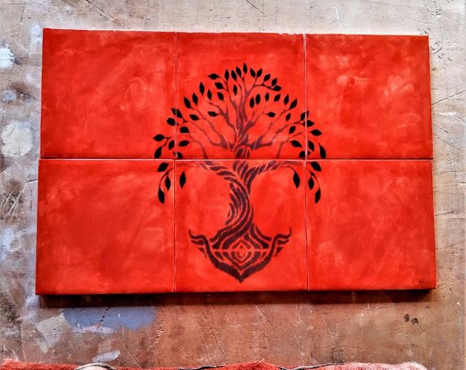 Tile mural, Kitchen splashback, Tree of Life Handmade, Wall art, Ceramic tile, CUSTOM SIZES AVAILABLE. 12in x 8in.