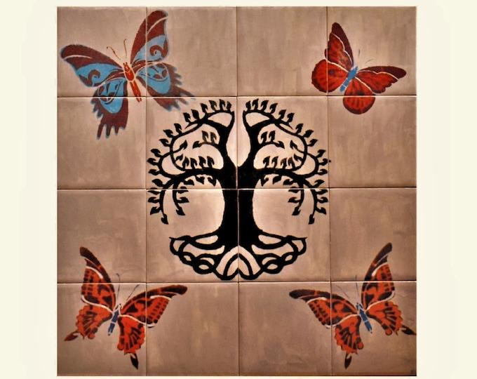 Tile mural, Kitchen splashback, Tree+of+Life Handmade, CUSTOM SIZES AVAILABLE. 16in x 16in.