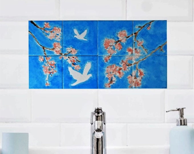 Wall decor, Tile mural, Hand painted, Backsplash, White Doves with Cherry Blossoms, custom sizes available.