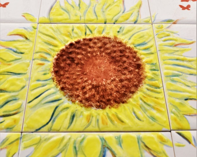 Backsplash, tile mural, Sunflower, with butterflies, Hand painted tiles, Wall decor,CUSTOM SIZES AVAILABLE. 12in x 12in.