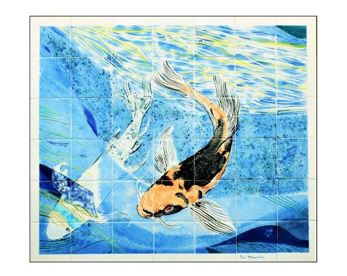 Backsplash, Hand Painted, Tile mural, Splashback with Koi Carp, Wall art, custom sizes available.