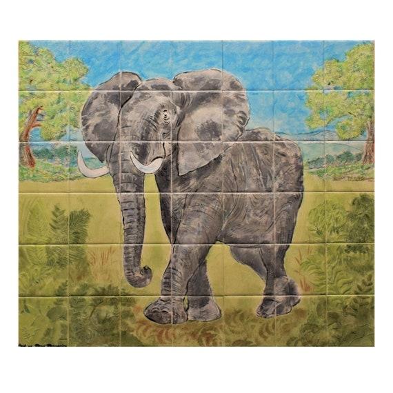 Stove backsplash, Backsplash Tile, Elephant, Custom Tile mural, hand painted tile.***We Can Also Do Any Size or Design For You***