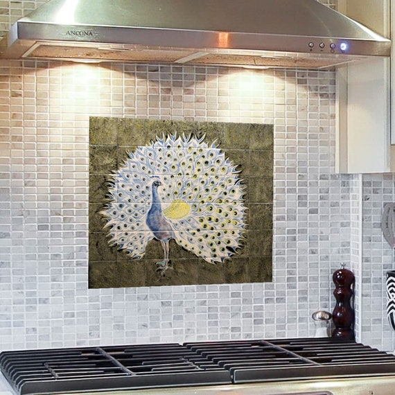 Kitchen Backsplash, Peacock Painting, Custom Tile mural, Ceramic Painted Tiles.