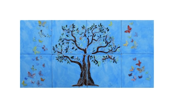 Decorative tile, Tree of Life Handmade, Backsplash, CUSTOM SIZES.