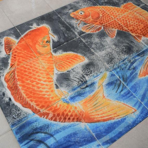 Kitchen Backsplash Tile, Handmade, Koi Fish Decor, CUSTOM SIZES.