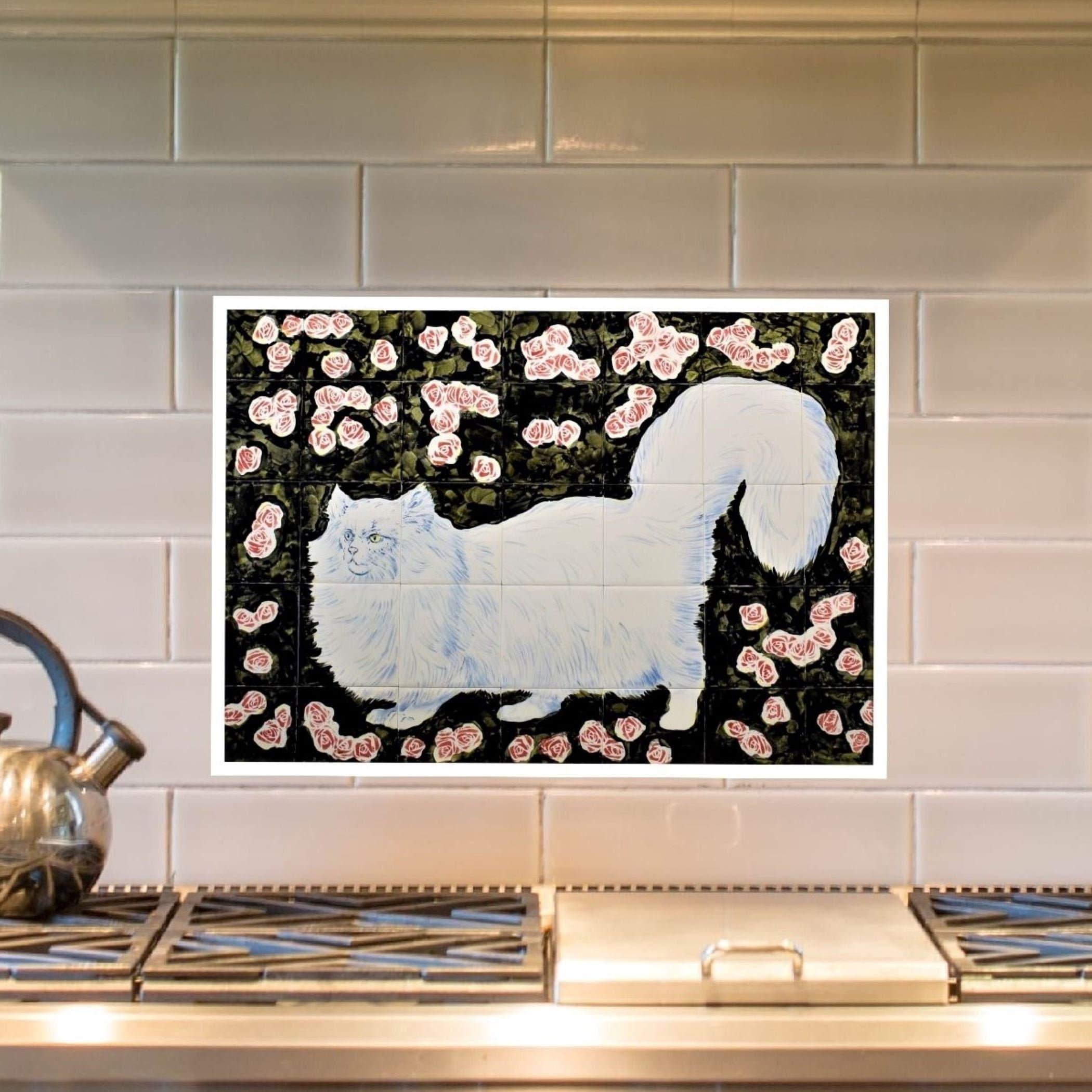 Kitchen Backsplash Tile Mural Tile Art Cat Roses Wall Decor Custom Sizes Available 28in X 20in