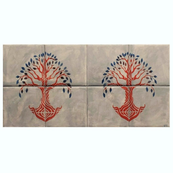 Backsplash, Tile mural, Hand Painted, Decorative tiles, Tree of Life Handmade, CUSTOM SIZES.