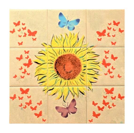 DIY, Behind The Stove Backsplash, Hand Painted Tile, Kitchen backsplash, Handmade tile,