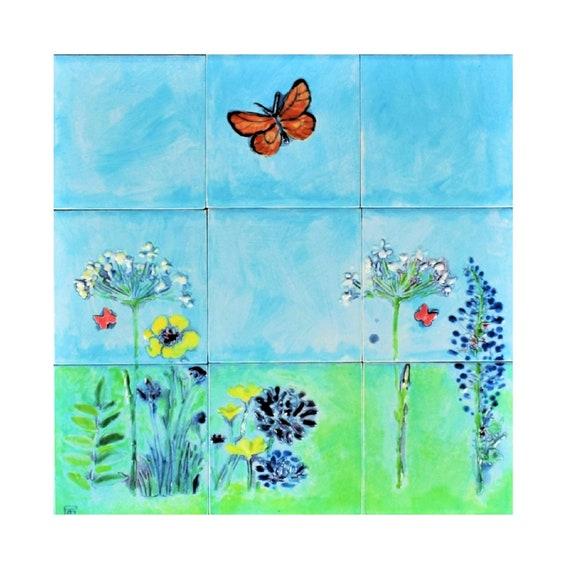 Backsplash Tile, Hand painted, butterfly wall art, Splashback for kitchens