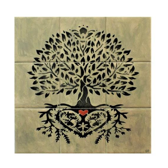 Backsplash Tiles, Hand painted, tile mural, Tree of Life, Kitchen backsplash idea.
