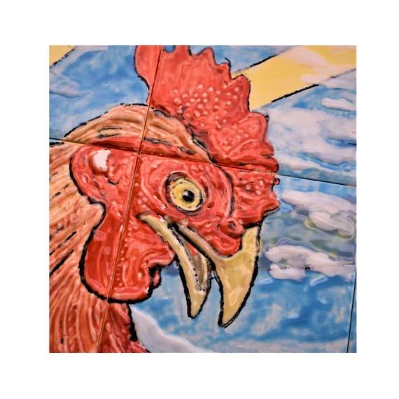 Tile, Backsplash, Tile mural, Hand, Painted, Rooster, Splashback, Wall decor, CUSTOM SIZES.