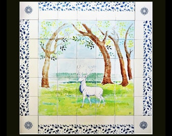 The White Stag Hand painted Wall tile Mural 28 x 28 inches, Ceramic tile kitchen backsplash, ceramic wall art, tiles