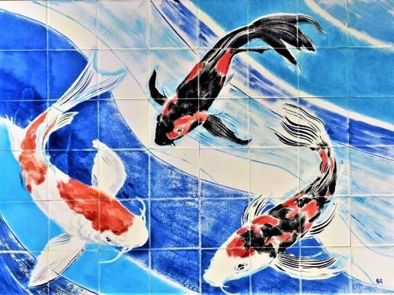 Backsplash Tile , Tile mural, Hand painted tile, Splashback for kitchens, Koi art.