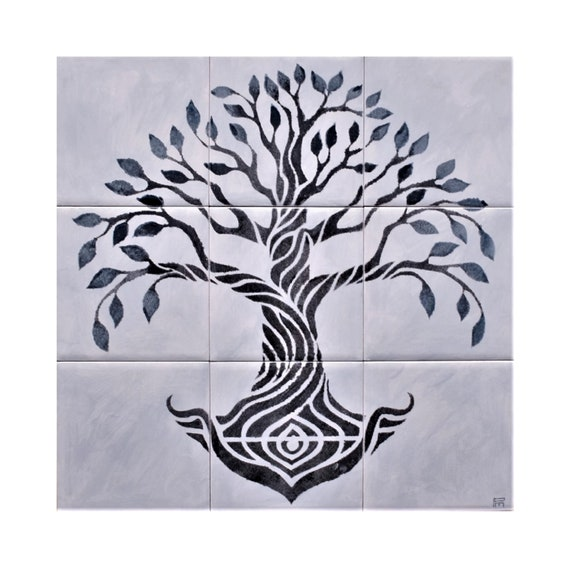 Backsplash, Splashback for kitchens, Grey, Tile mural, Tree of Life Handmade, Backsplash Tile.