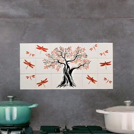 Kitchen tile designs, Tree of Life Wall Art, Handmade, Free Shipping, CUSTOM SIZES. 12in x 24in.