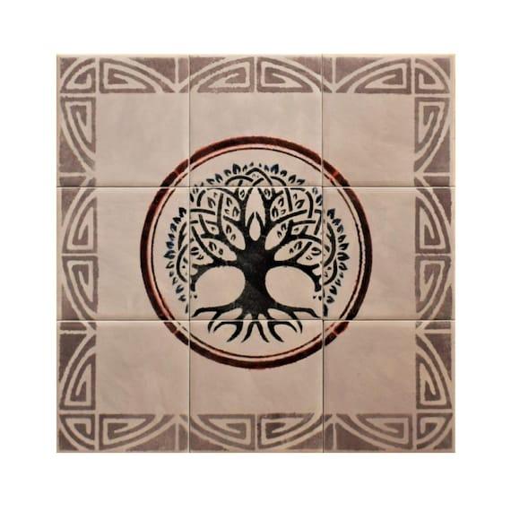 Tile mural, Tree of Life Handmade, Ceramic Tile, CUSTOM SIZES.