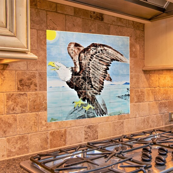 Kitchen Backsplash, American Eagle, Custom Tile Mural, Handmade.