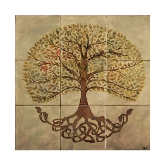 Stove Backsplash, Tree of Life, Handpainted Tile, Art Tile, Premium, Designer Splashbacks