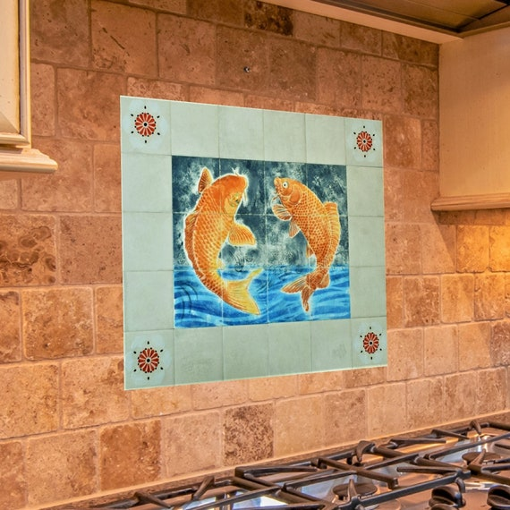 Tile mural, Kitchen Backsplash Tile, Handmade, Koi Fish Decor.