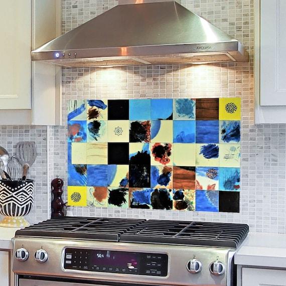 Tile Mural, Kitchen Splashback, Hand Painted tile, Backsplash Tile.