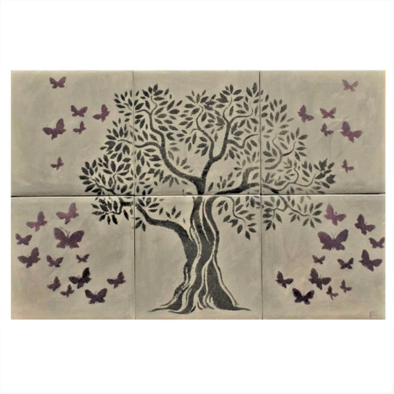 Backsplash, Hand painted, tile mural, Butterfly, Wall decor, Grey Tile, Tree of Life Handmade.