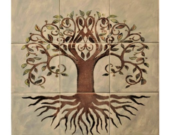 Kitchen Backsplash, Custom Tile mural, Ceramic Tiles, hand painted tile.***We Can Also Do Any Size or Design For You***, Tree of Life