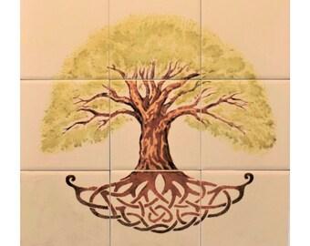 Tree of Life DIY Backsplash 9 Handmade Ceramic Tiles, Art Tile Backsplash
