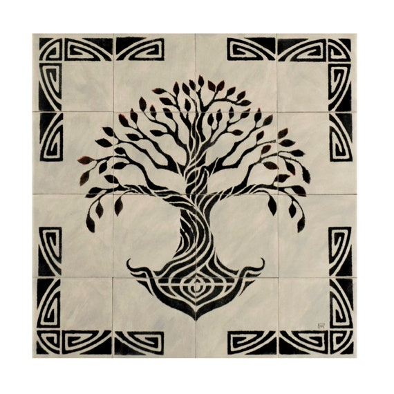 Backsplash, Tile mural, Hand Painted tile, Tree of Life Handmade, Grey, Ceramic Tile. * We Can Also Do Any Size or Design For You *