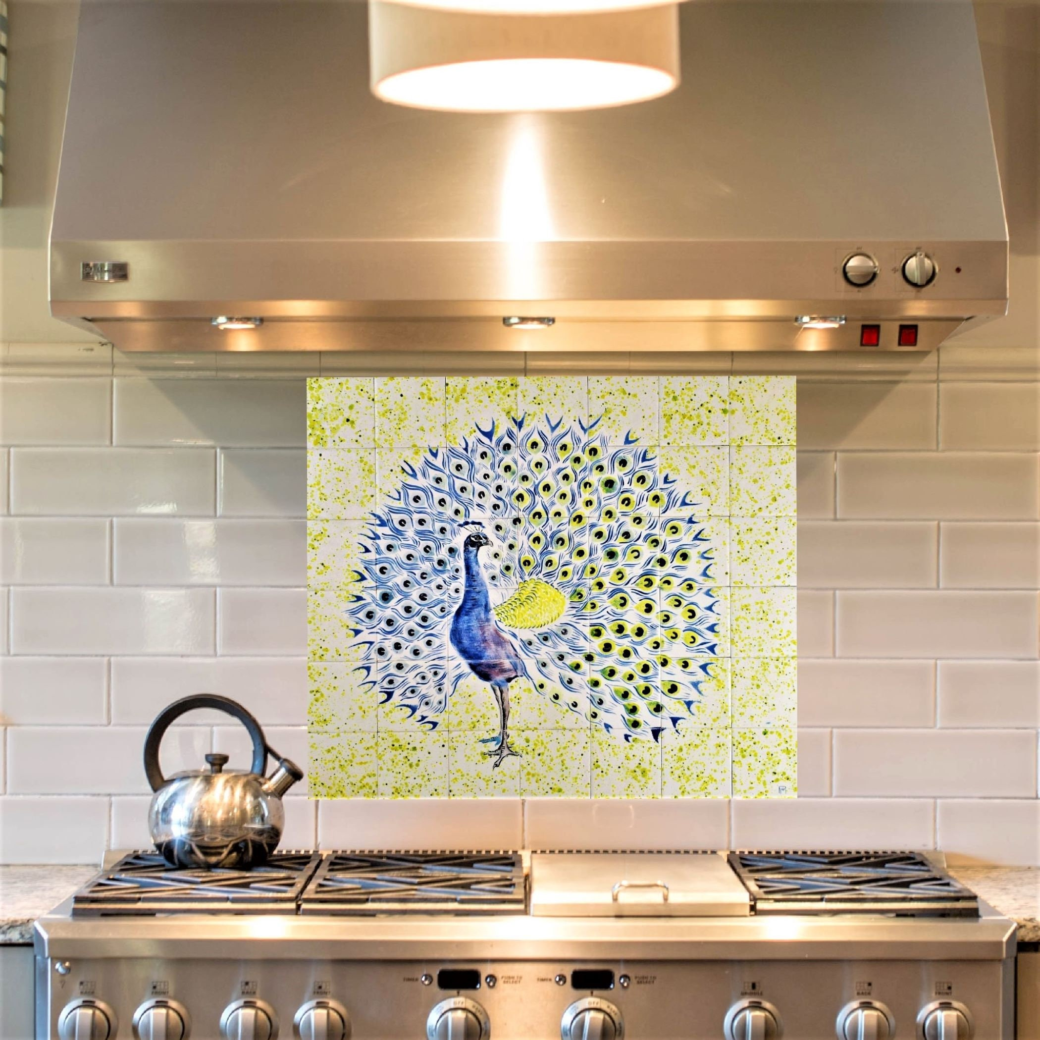 - Backsplash Tiles, Hand Painted, Peacock, Tile Mural. 42 Piece Tile