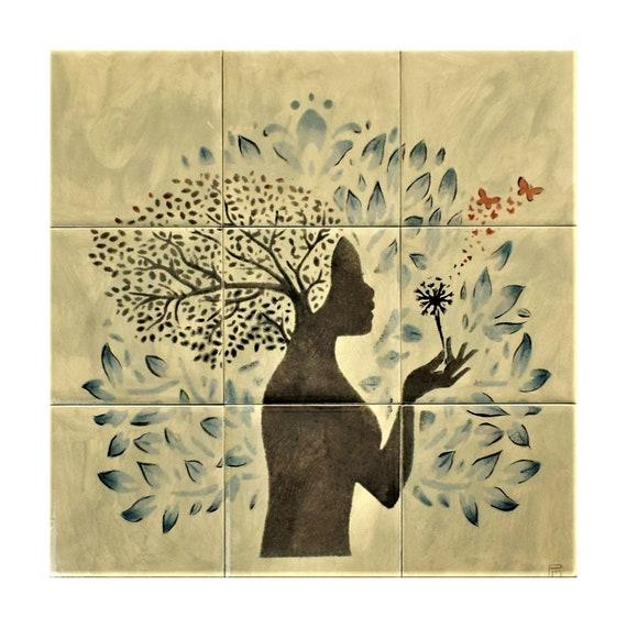 Kitchen Backsplash, Custom Tile mural, Ceramic Tiles, hand painted tile.***We Can Also Do Any Size or Design For You***