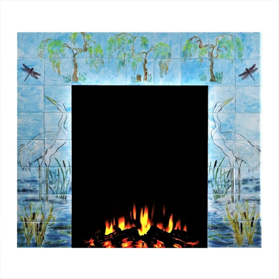 Fireplace Surround, Custom Tile, Ceramic painted tiles, Sky Blue.