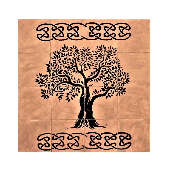 Tile mural, Tree of Life Handmade, Grey, Ceramic Tile. ** We Can Also Do Any Size or Design For You ** (Send us a message for more details)
