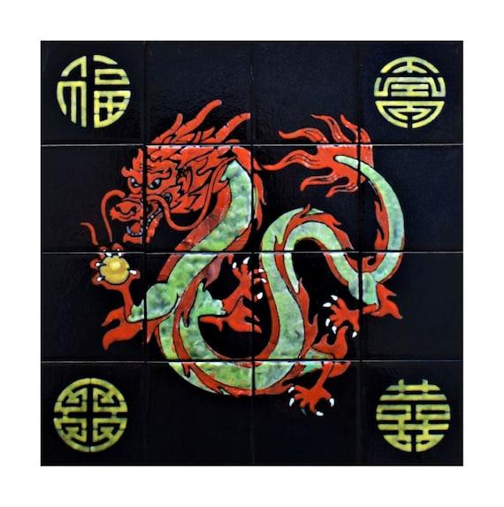 Backsplash, Wall Tiles For Kitchen, Dragon Art, Tile Splashback, Free Shipping, CUSTOM SIZES.