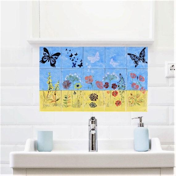Tile mural, Wall Tile for Kitchen Ideas, Backsplash, Handmade, Free Shipping, CUSTOM SIZES.