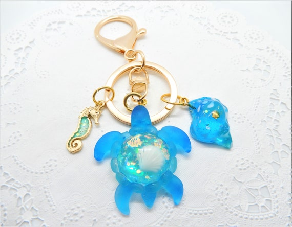 Turtle Gifts Resin Keychain Blue Turtle Keyring