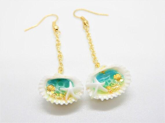 Ocean resin earrings