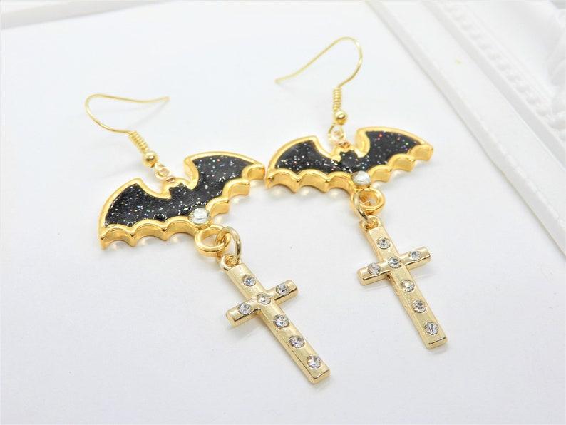 Fishhook Earrings Bat Earrings Halloween Earrings Halloween Bat Earrings Cross Earrings Resin Earrings