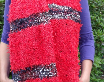 Stole/wide scarf in red with confetti jobs (150/35 cm)