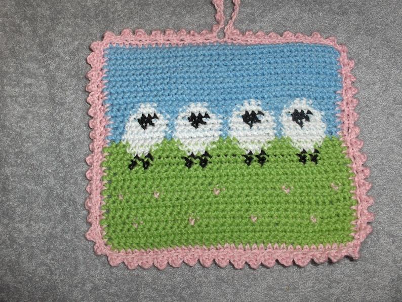 crocheted potholder trivits and pot holder farm decor sheep decor kitchen decor handmade gift seep spring potholder sheep pot holder
