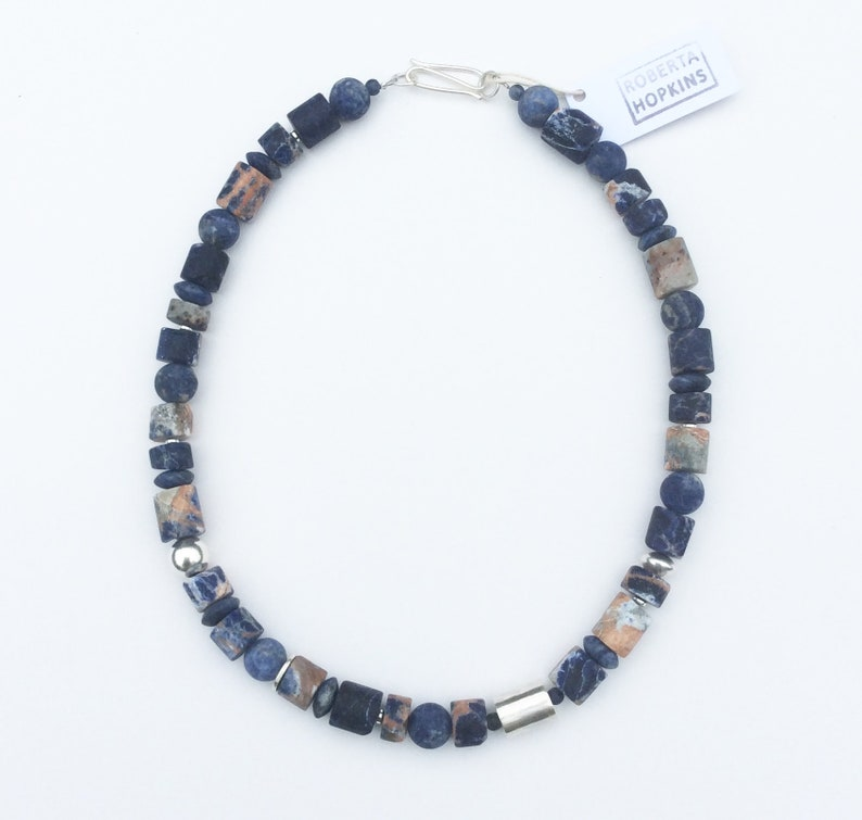 Orange Sodalite Necklace with Sodalite and sterling silver.