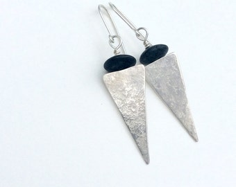 Picasso Jasper and Silver Long Triangle Earrings