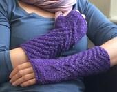 Chevron Fingerless Mitts knitting Pattern WM2014