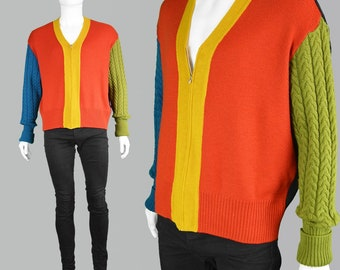 1c94751db9d4bb Vintage JEAN PAUL GAULTIER Mens Knit Jacket Cable Knit Cardigan Mens  Knitwear Color Block Jacket Spring Fall Wool Cardigan Zip Up Jumper