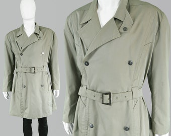 adf727093a1 Vintage 80s THIERRY MUGLER Green Khaki Coat Mens Trench Coat Green  Trenchcoat Men Double Breasted Military Jacket Mens Mac Jacket Cotton