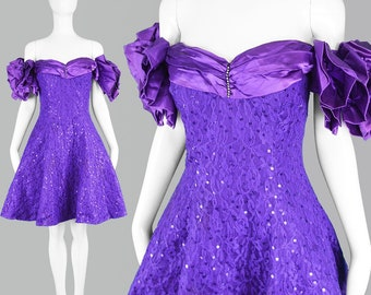 a113d089f8 Vintage 80s Party Dress 80s Prom Dress Sequin Dress Off Shoulder Dress  Purple Prom Dress Formal Dress Bridesmaid Dress 1980s Satin Dress