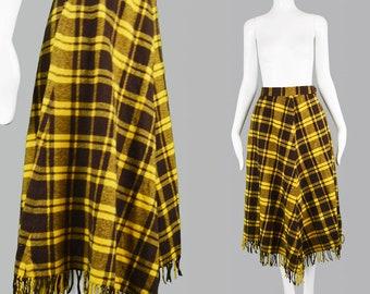 5e42cbb824 Vintage 90s MONDI Skirt Yellow Plaid Skirt Grunge Skirt Fringed Skirt 1990s  Punk Skirt Midi Wool Skirt Clueless Skirt Yellow Tartan Skirt