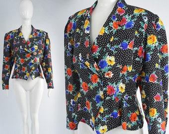 Floral Print Black Polka Dot Nipped Waist 80s Shoulder Pads Blouse