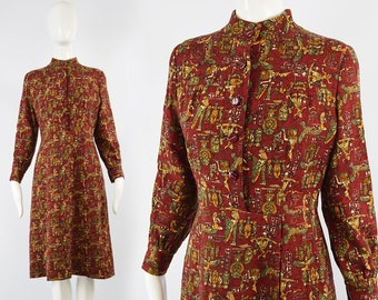 2fde0d0625ab Vintage anni 80 egiziano Abito Faraone stampa vestito novità stampa abito  in lana rossa abito manica lunga abito hippy vestito Egitto fantasia vestito  anni ...