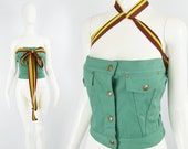 Vintage JEAN PAUL GAULTIER Top, Green Denim Bustier, Womens Party Top, Designer Vintage, Strapless Bodice, Made in Italy, Womens Medium M