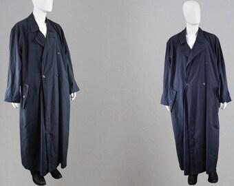 1f8e29463ff Vintage 80s ISSEY MIYAKE MEN Trench Coat Blue Maxi Coat Long Blue Coat Mens  Trenchcoat Men Lightweight Jacket Spring Fall Coat Full Length